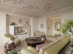 美式清新绿色碎花客厅装饰案例