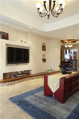 白色东南亚风格客厅背景墙装饰案例