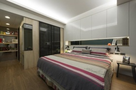 白色现代卧室背景装饰柜效果图