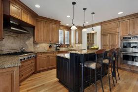 橙色美式风格厨房橱柜装修设计