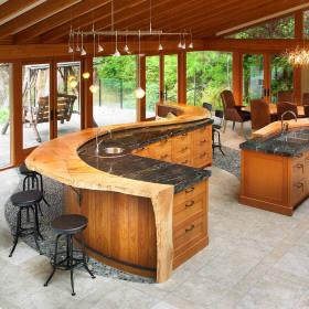 创意时尚原木风混搭厨房吧台美图