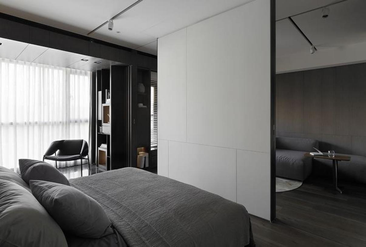 凝练都市现代灰色卧室装饰设计图片-兔狗装修效果图