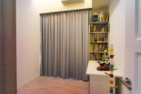 淡雅简约风格灰色书房窗帘设计