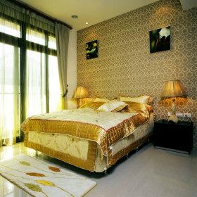 黄色东南亚风格卧室装修效果图