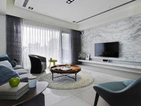 灰色简约风格客厅窗帘图片赏析
