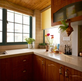 自然舒适美式风格厨房橱柜装修图片