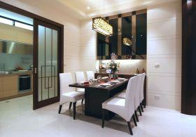 原木色新中式风格厨房推拉门装修效果图片
