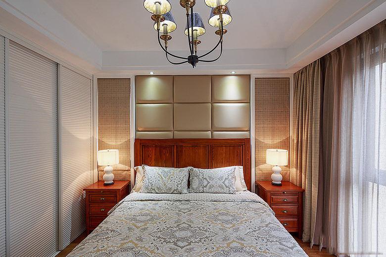 紅色新中式風格臥室床頭軟包效果圖設計
