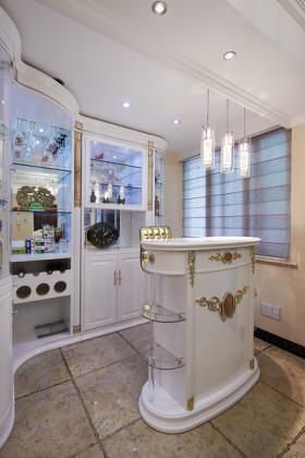优雅欧式风格白色吧台设计图