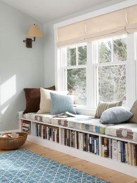 灰色宜家风格飘窗书柜装潢案例