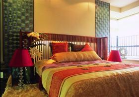 彩色新中式风格卧室设计装潢