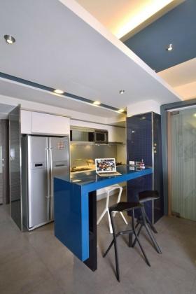 浪漫创意现代风格蓝色吧台装修