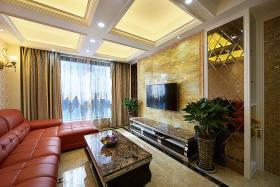 华丽简欧风格客厅装修背景墙装修图片