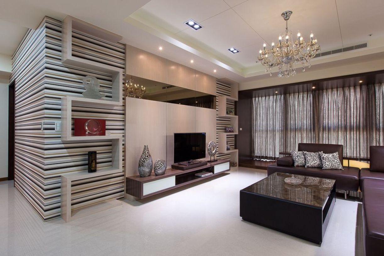 轻奢雅致现代风格米色客厅装潢美图欣赏-兔狗装修效果