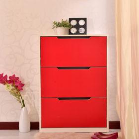 现代时尚红色鞋柜装修图