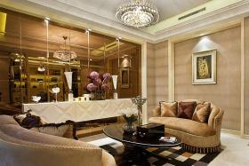 黄色欧式风格客厅沙发背景墙装潢案例