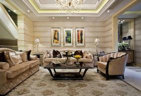 欧式黄色雅致客厅装饰设计图片