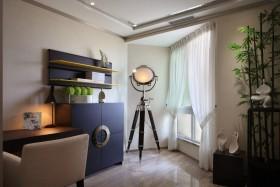 米色创意个性混搭风格书房窗帘装潢