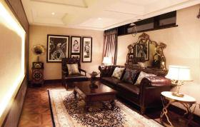 褐色新古典风格客厅家具装修图