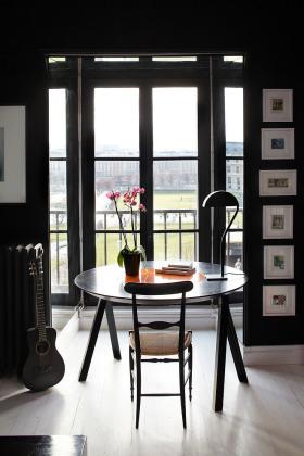 黑色文艺混搭风格书房阳台图片