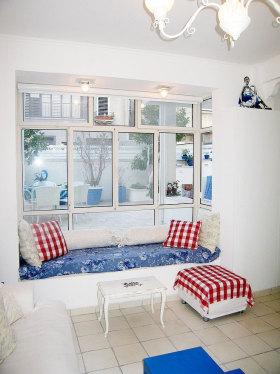 蓝色简欧风格客厅飘窗图片欣赏