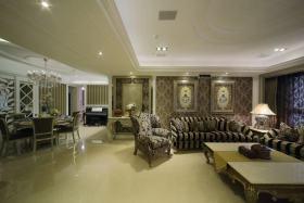 精致低奢华丽新古典风格客厅装潢装修案例