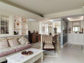 白色雅致淡雅田园客厅装潢设计案例