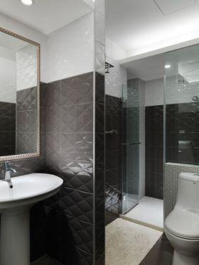 凝练时尚黑色现代卫生间装饰图
