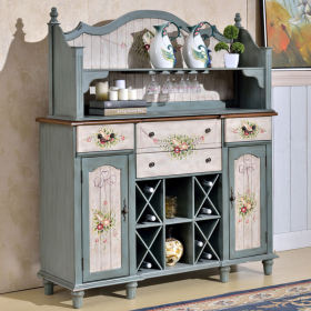 美式清新蓝色酒柜设计装潢