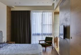 灰色现代风格卧室窗帘美图欣赏