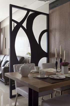 原木色简欧风格客厅餐厅隔断效果图设计