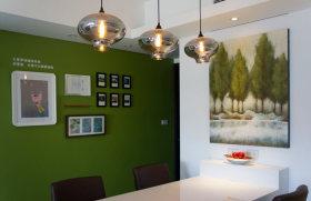 简约现代绿色餐厅照片墙设计图