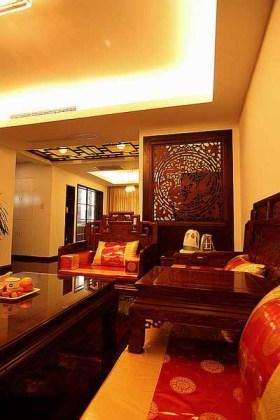 橙色中式风格客厅沙发效果图欣赏