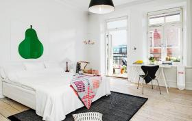 时尚白色宜家风格卧室装潢设计