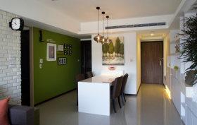 绿色简约风格餐厅背景墙设计图