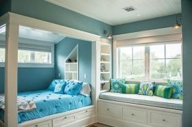 美式活力蓝色卧室美图赏析