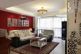 雅致创意混搭风格客厅照片墙装修图