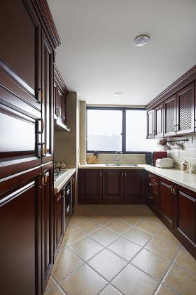 褐色中式风格厨房橱柜装饰图