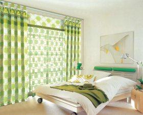 清爽自然绿色创意现代风格卧室装潢