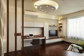 现代客厅书房一体式装修案例