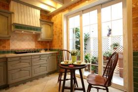 橙色田园风格厨房装修图片欣赏