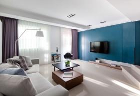 几何创意蓝色现代风格客厅效果图欣赏