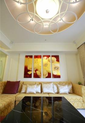 黄色简欧风格客厅吊顶装修效果图