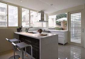 白色简约厨房吧台效果图赏析