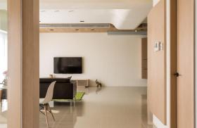 原木色宜家风格客厅隔断设计欣赏