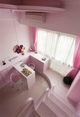 混搭粉色清新甜美书房装潢装修图