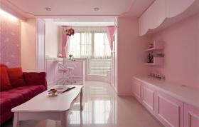 粉色甜美浪漫简约风格客厅装修图片