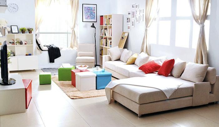 米色宜家风客厅沙发装修案例