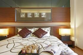 中式褐色时尚卧室背景墙装修布置