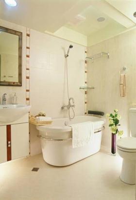 米色简约卫生间浴缸装修效果图